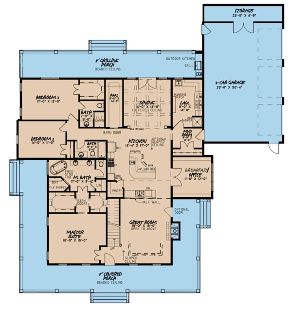 Farmhouse Floor Plan - Main Floor Plan Plan #923-108