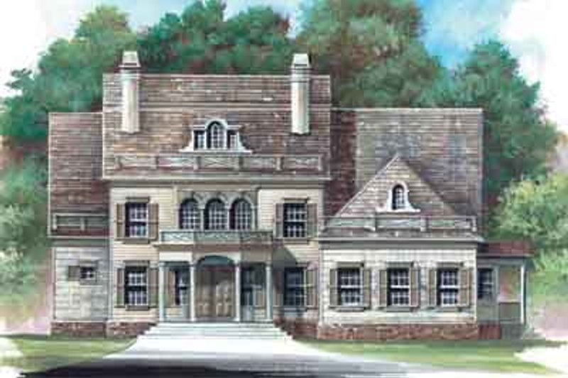 European Style House Plan - 4 Beds 3.5 Baths 3159 Sq/Ft Plan #119-133 Exterior - Front Elevation