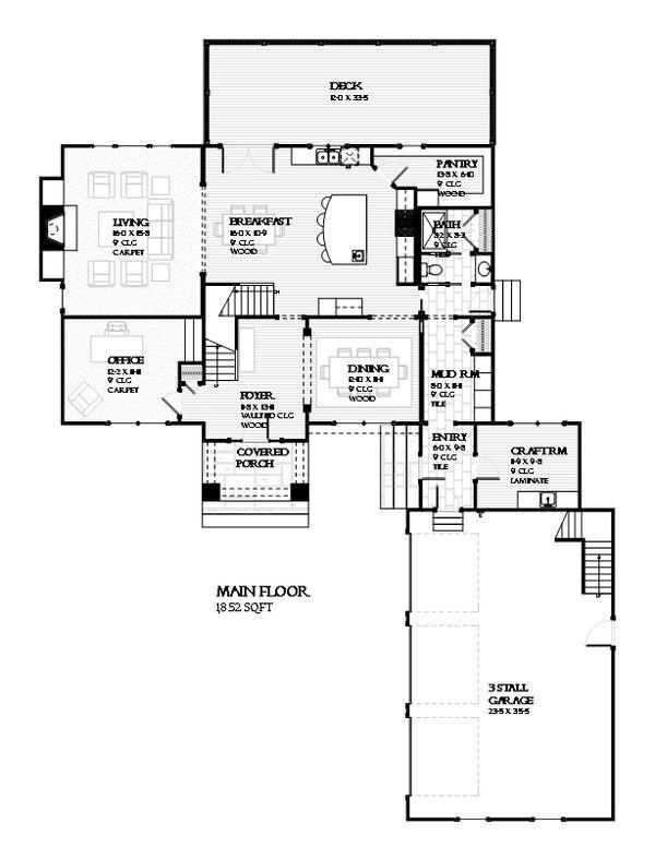 Traditional Floor Plan - Main Floor Plan Plan #901-117