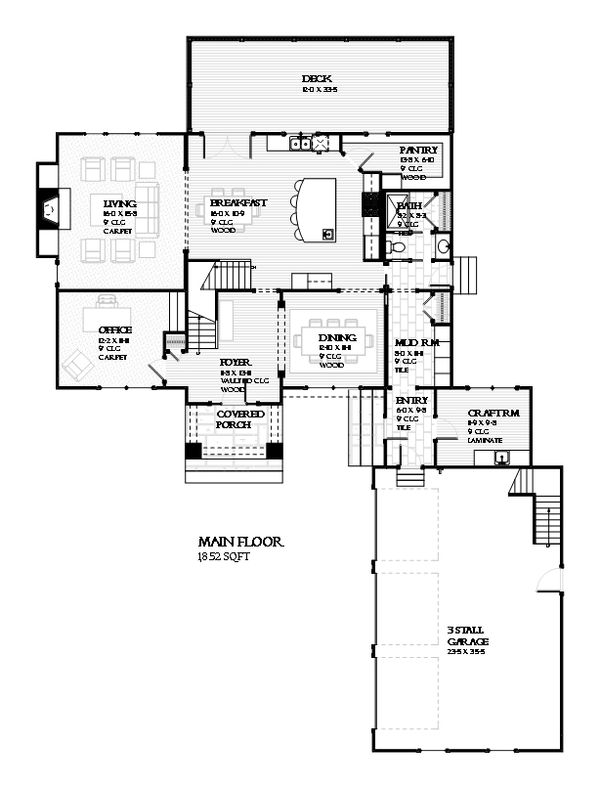 Traditional Style House Plan - 4 Beds 2.5 Baths 3294 Sq/Ft Plan #901-117 Floor Plan - Main Floor Plan