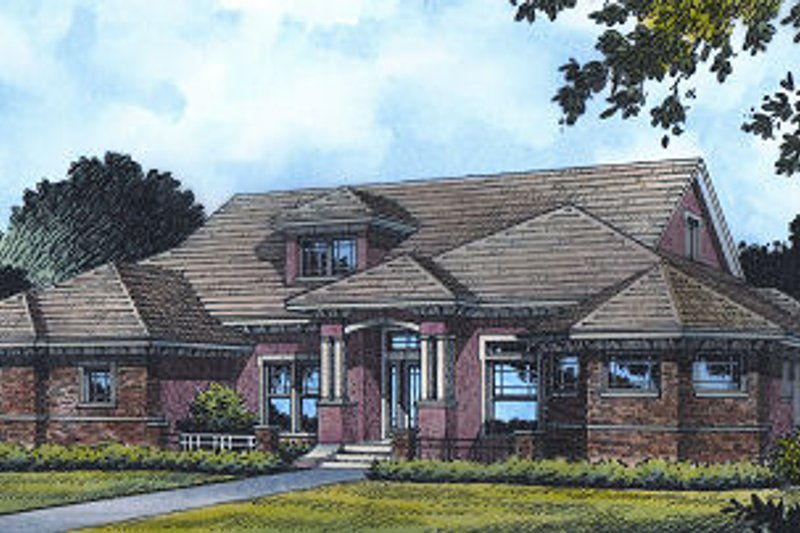 Traditional Style House Plan - 4 Beds 4 Baths 3098 Sq/Ft Plan #417-358 Exterior - Front Elevation