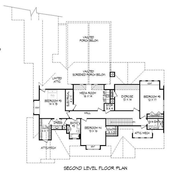 Traditional Floor Plan - Upper Floor Plan Plan #932-212