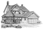 Victorian Style House Plan - 4 Beds 2.5 Baths 2258 Sq/Ft Plan #47-279 Exterior - Front Elevation