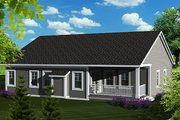 Traditional Style House Plan - 3 Beds 2 Baths 1501 Sq/Ft Plan #70-1131 Exterior - Rear Elevation