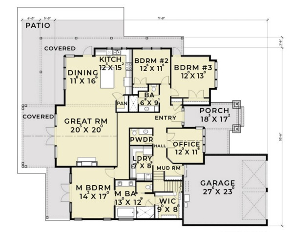 Craftsman Floor Plan - Main Floor Plan Plan #1070-5