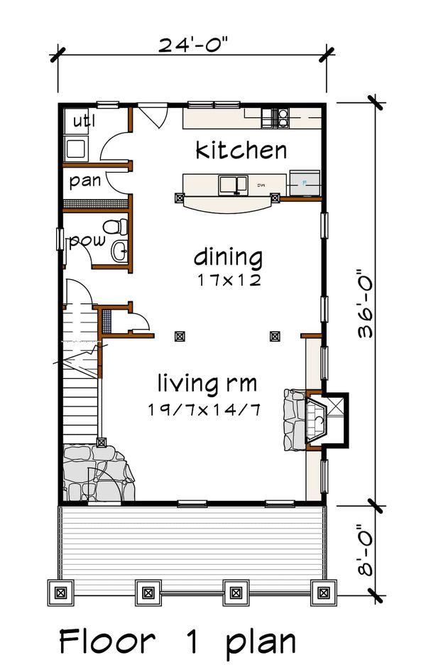 Craftsman Floor Plan - Main Floor Plan #79-306