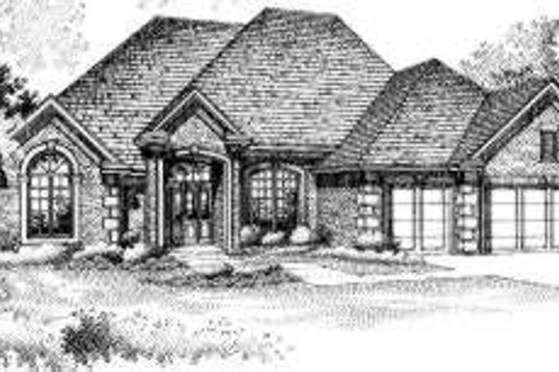 European Style House Plan - 3 Beds 2 Baths 2340 Sq/Ft Plan #310-133 Exterior - Front Elevation