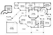 European Style House Plan - 5 Beds 5.5 Baths 6438 Sq/Ft Plan #411-664 Floor Plan - Main Floor