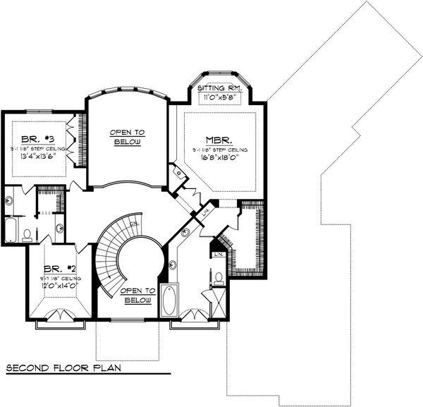 European Floor Plan - Upper Floor Plan Plan #70-1092