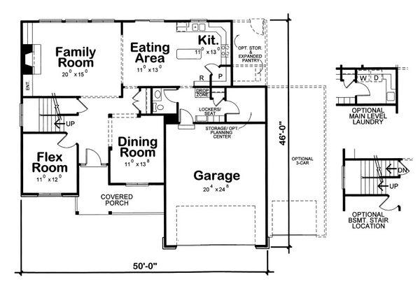 Traditional Floor Plan - Main Floor Plan Plan #20-2090