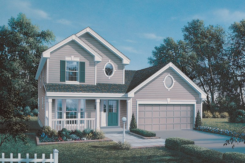 Traditional Style House Plan - 3 Beds 2.5 Baths 1524 Sq/Ft Plan #57-163 Exterior - Front Elevation