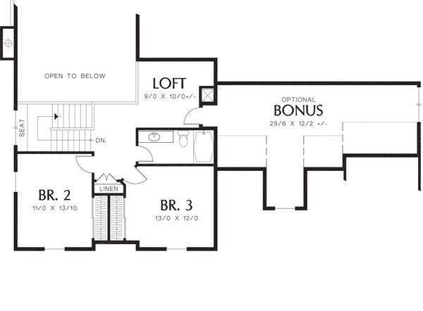 Traditional Floor Plan - Upper Floor Plan Plan #48-393