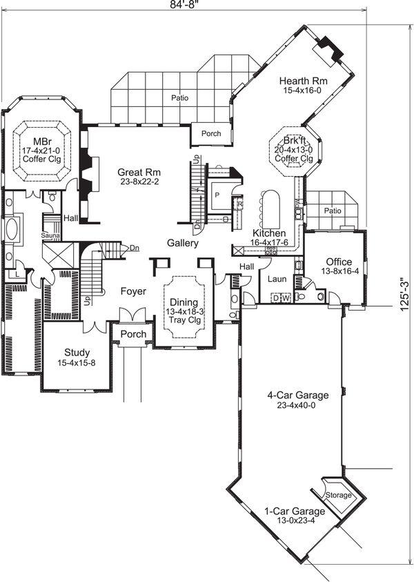 Tudor Floor Plan - Main Floor Plan Plan #57-575