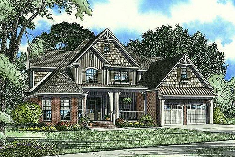 Country Style House Plan - 4 Beds 3 Baths 2815 Sq/Ft Plan #17-1169 Exterior - Front Elevation