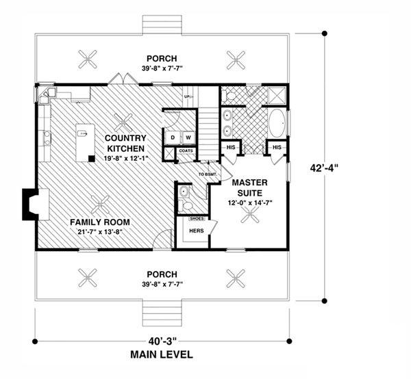 Cottage Floor Plan - Main Floor Plan #56-627