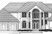 European Style House Plan - 4 Beds 3.5 Baths 2908 Sq/Ft Plan #67-418 Exterior - Front Elevation