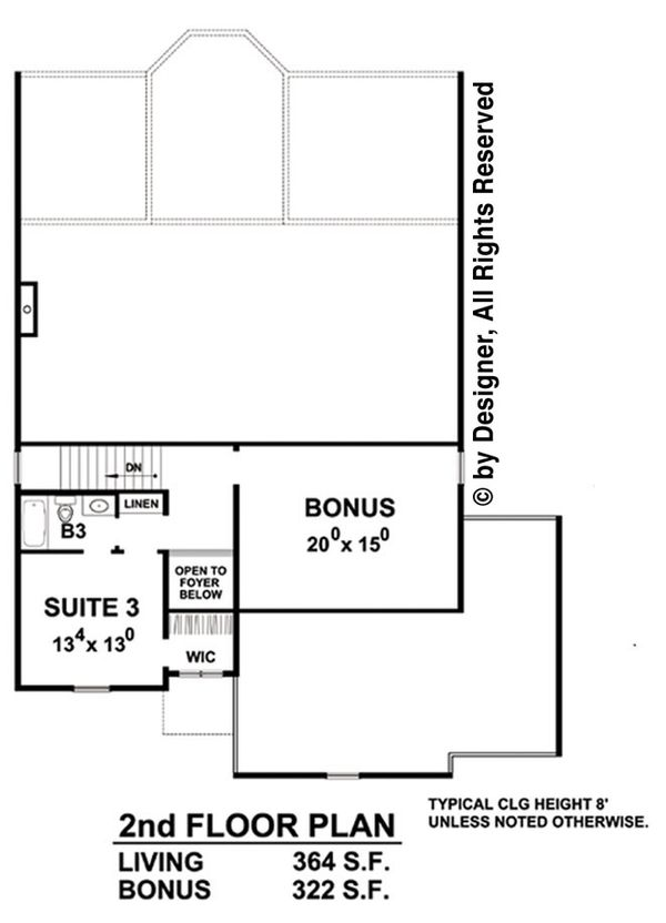 Traditional Floor Plan - Upper Floor Plan Plan #20-2266
