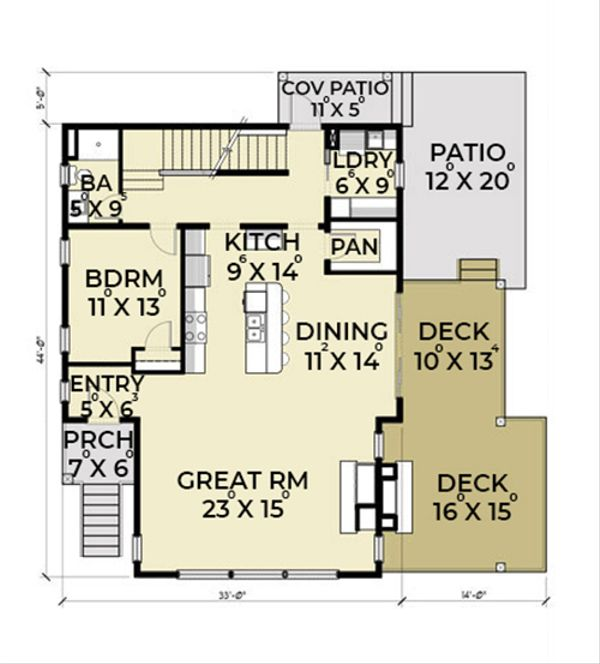 Contemporary Floor Plan - Main Floor Plan Plan #1070-7