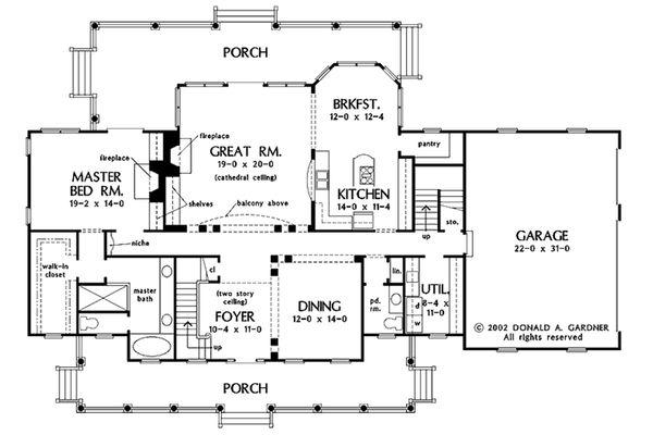 Country Floor Plan - Main Floor Plan #929-44