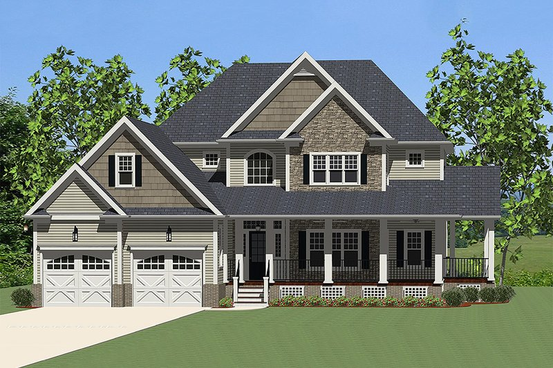 Farmhouse Style House Plan - 3 Beds 2.5 Baths 2720 Sq/Ft Plan #898-10 Exterior - Front Elevation