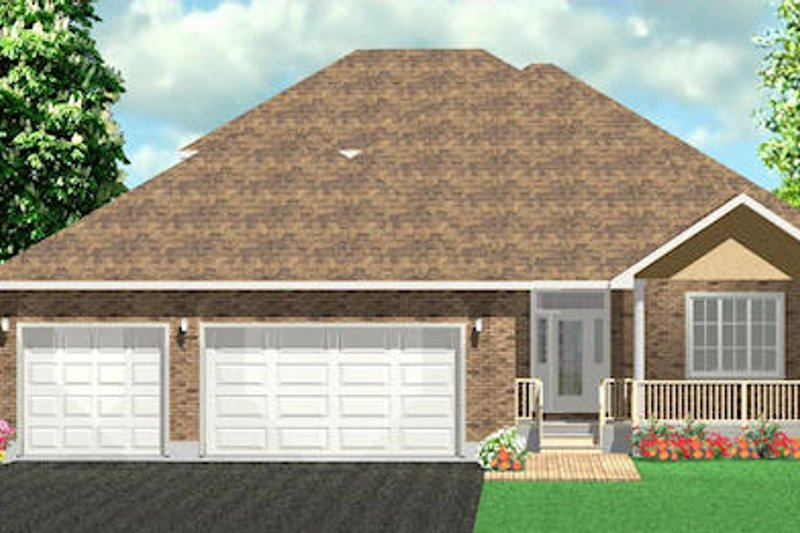Traditional Style House Plan - 2 Beds 2.5 Baths 2455 Sq/Ft Plan #414-121 Exterior - Front Elevation