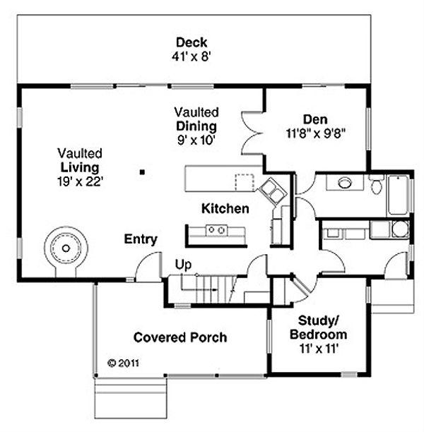 Contemporary Floor Plan - Main Floor Plan Plan #124-388