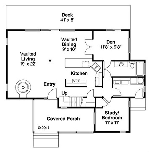 Contemporary Floor Plan - Main Floor Plan Plan #124-388