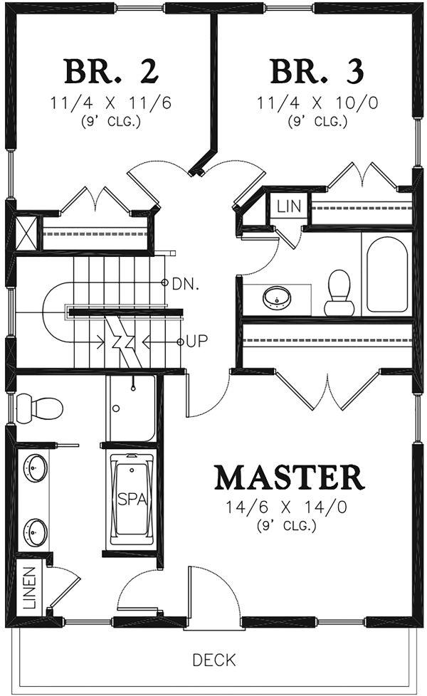 Traditional Floor Plan - Upper Floor Plan Plan #48-965