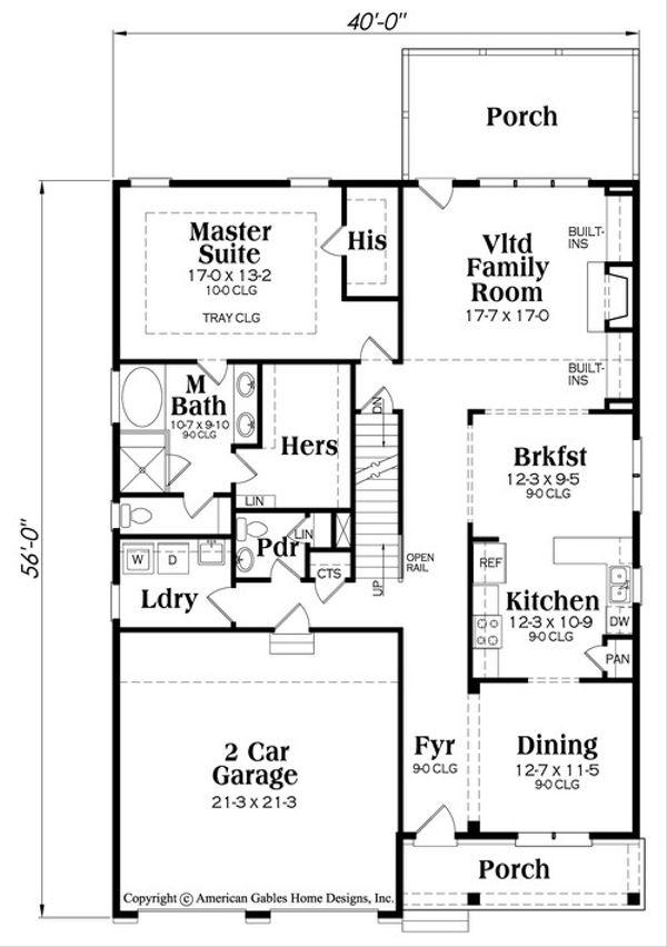 Country Floor Plan - Main Floor Plan #419-319