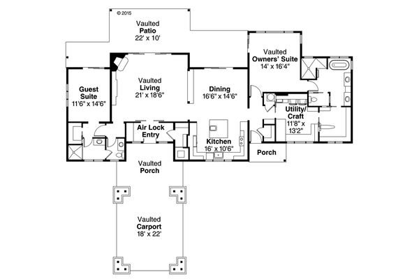 Craftsman Floor Plan - Main Floor Plan Plan #124-1005