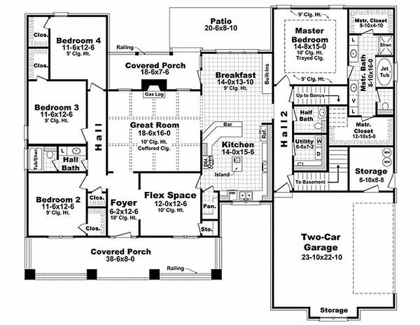 Craftsman Floor Plan - Main Floor Plan Plan #21-308