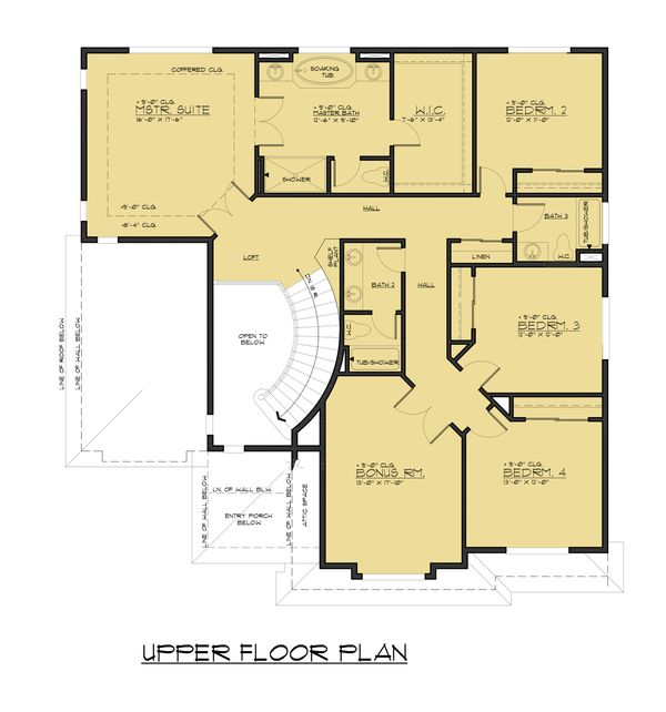 Contemporary Floor Plan - Upper Floor Plan Plan #1066-57