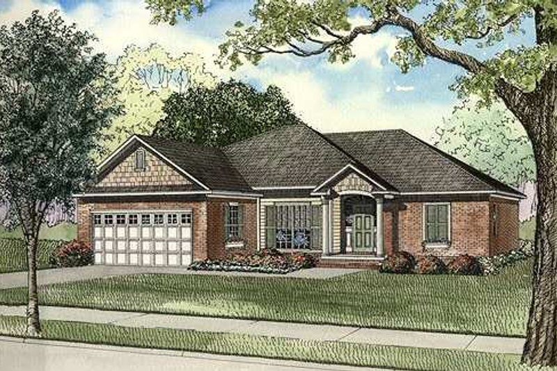 Traditional Style House Plan - 3 Beds 2 Baths 1560 Sq/Ft Plan #17-1143 Exterior - Front Elevation