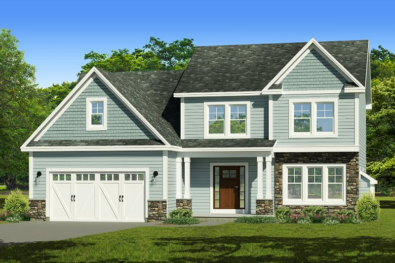 Traditional Style House Plan - 3 Beds 2.5 Baths 1672 Sq/Ft Plan #1010-236 Exterior - Front Elevation