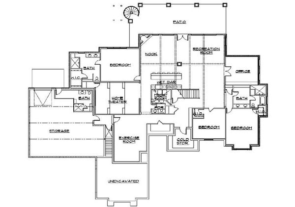 Craftsman Floor Plan - Lower Floor Plan Plan #5-345
