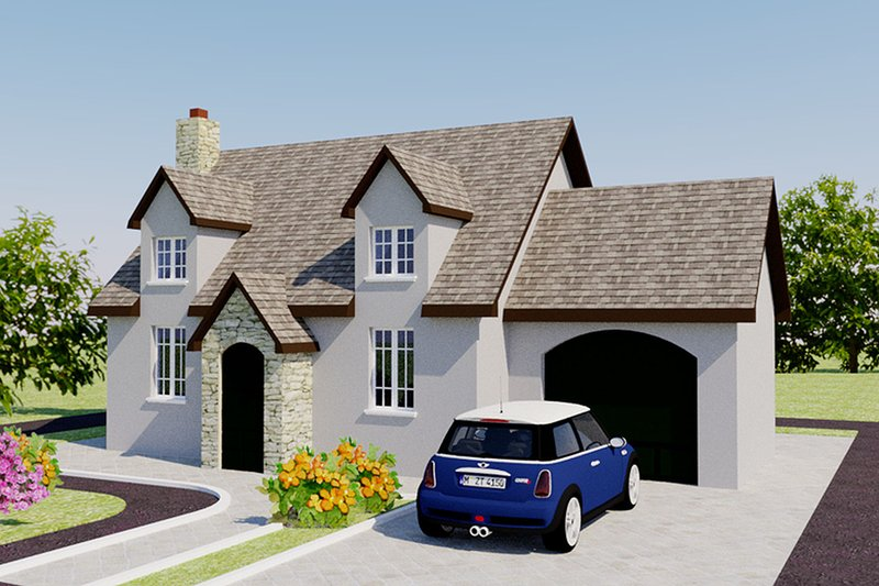 European Style House Plan - 2 Beds 1 Baths 566 Sq/Ft Plan #542-6 Exterior - Front Elevation