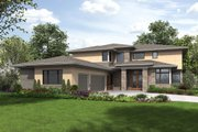 Contemporary Style House Plan - 4 Beds 4.5 Baths 4106 Sq/Ft Plan #48-651 Exterior - Front Elevation