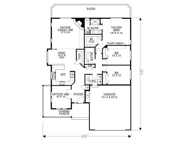 Craftsman Floor Plan - Main Floor Plan Plan #53-523