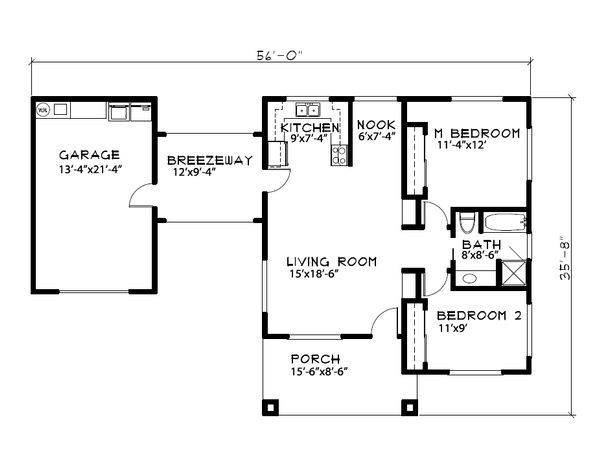 Ranch Floor Plan - Main Floor Plan Plan #515-20