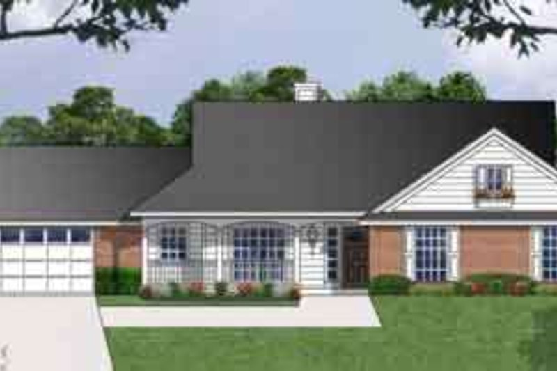 Southern Exterior - Front Elevation Plan #40-336