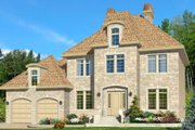 European Style House Plan - 4 Beds 1.5 Baths 1992 Sq/Ft Plan #138-244 Exterior - Front Elevation