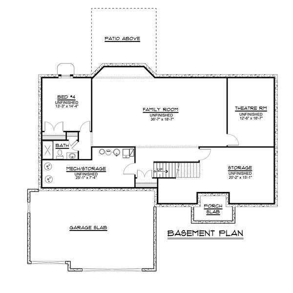 Ranch Floor Plan - Lower Floor Plan #1064-47