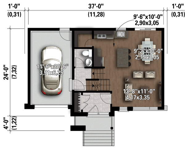 Contemporary Floor Plan - Main Floor Plan Plan #25-4298