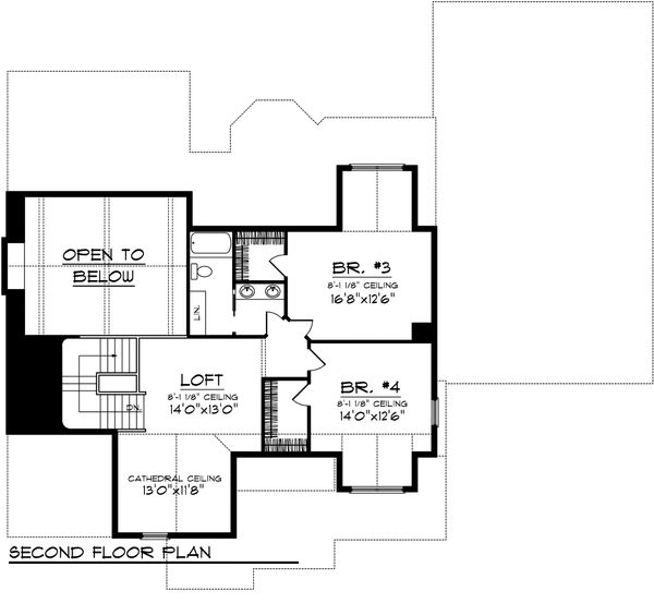 Craftsman Floor Plan - Upper Floor Plan Plan #70-1106