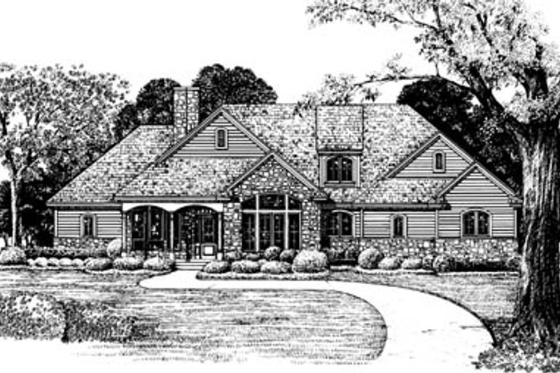 Architectural House Design - Country Exterior - Front Elevation Plan #20-130