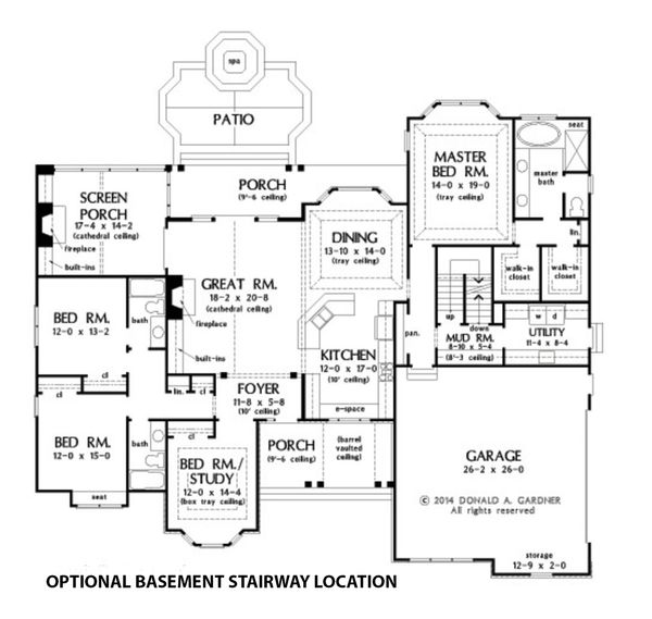 Dream House Plan - Optional Basement Stairway Location