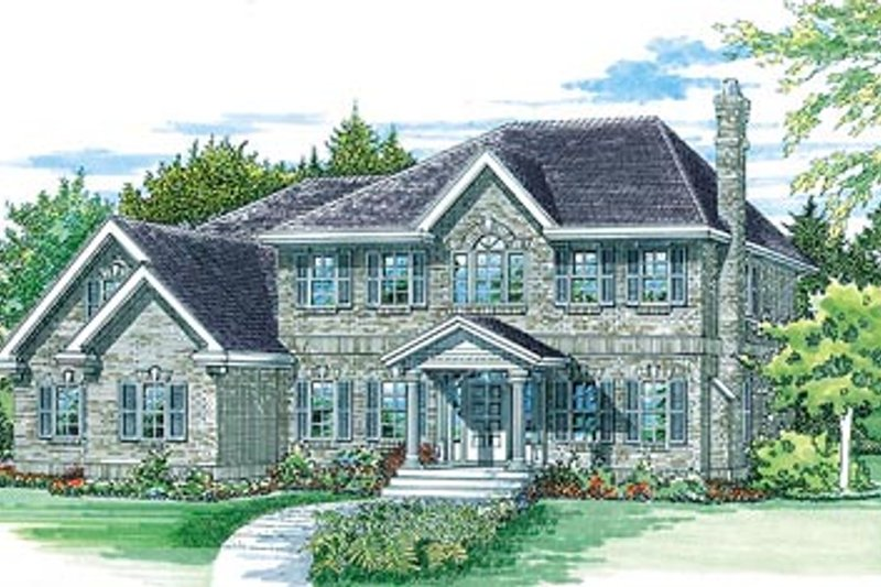European Style House Plan - 4 Beds 2.5 Baths 2552 Sq/Ft Plan #47-337 Exterior - Front Elevation
