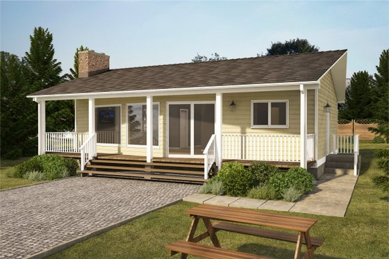 Cottage Exterior - Front Elevation Plan #126-110