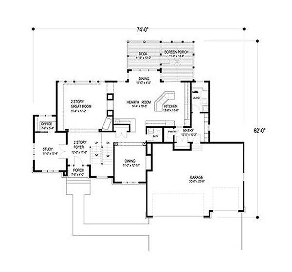 Traditional Floor Plan - Main Floor Plan Plan #56-594