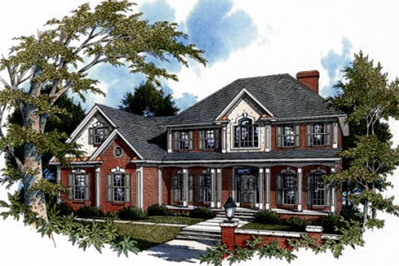 Southern Exterior - Front Elevation Plan #56-197